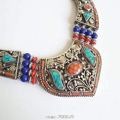 (ZAMTAC TNL149 Genuine Tibetan Hand Jewelry Tibet Turquoise Coral Big Pendant Boho Copper Necklaces Himalayan Tribal Amulet Jewel)