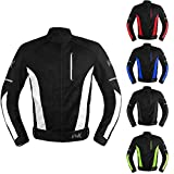 Mesh Motorcycle Jacket Textile Motorbike Summer Biker Air Jacket CE ARMOURED BREATHABLE (Large, White)