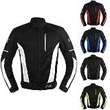 Mesh Motorcycle Jacket Textile Motorbike Summer Biker Air Jacket CE ARMOURED BREATHABLE (Large, White)