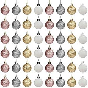 Belle Vous Palline di Natale (48pz) - Palline di Natale Argento e Palline di Natale Oro, Oro Rosa e Bianco da 4 cm, 12 Cad. con Cordino per Decorazioni Natalizie per la Casa e Addobbi Albero di Natale 4 spesavip