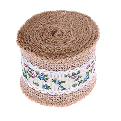 SANGNI 1Roll 5cmX5M Burlap Hessian Jute Ribbon,Rustic Farmhouse Style Natural Wedding Strap Décor Outdoor Wedding Engagement Parties, Christmas, Birthday, Hotels, Restaurants, Caters -