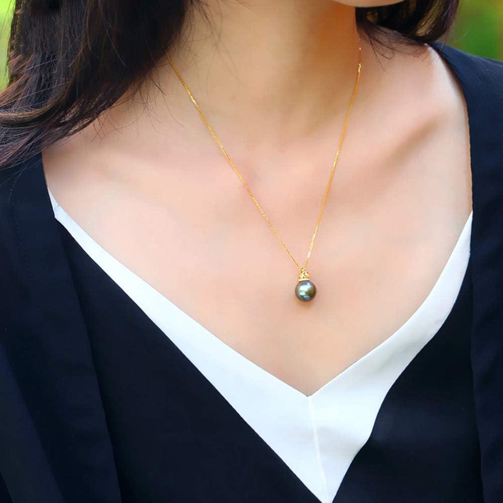 DX.PZ Perla Tahitiana Colgante Oro de 18 Quilates Corona Incrustación Circón Collar 11mm Tahití Perla Redonda con Plata de Ley 925 Cadena para Mujeres Regalo