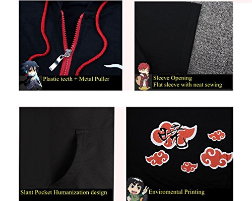 COSAUG Akatsuki Itachi Red Cloud Printed Cosplay Hoodie Short Sleeves Coat Jacket (L) by COSAUG (Image #2)