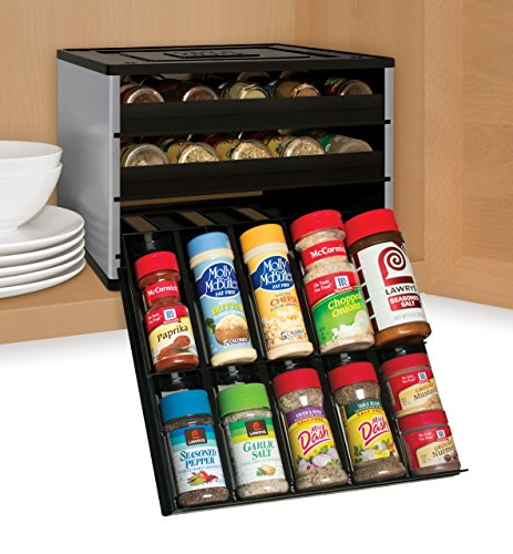 Wide Counter High Cabinet (YouCopia Chef's Edition SpiceStack 30-Bottle Spice Organizer with Universal Drawers, Silver)