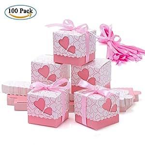 Cajas de Boda Regalo – Meersee 100 Cajas de Bautizo Caramelo Cumpleaños Dulces Bombones Regalos Detalles con Cintas para Invitados de Boda Fiesta Comunion, Bautizo Cumpleaños (Rosado)