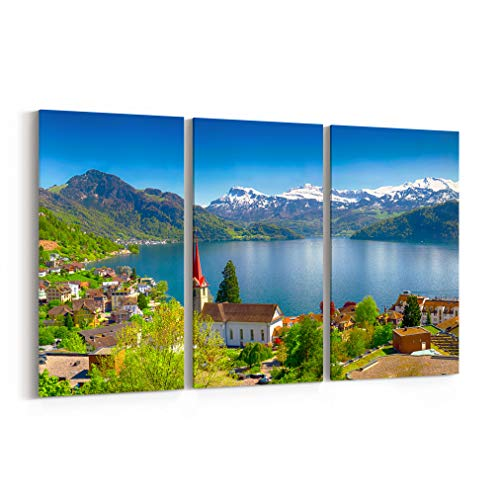 Lucerne Medium Wall - Lake Lucerne Canvas Print Lake Lucerne Canvas Art Lake Lucerne Wall Art Canvas Multiple Sizes Gallery Wrapped Canvas on Pine Wooden Frame Swiss Alps