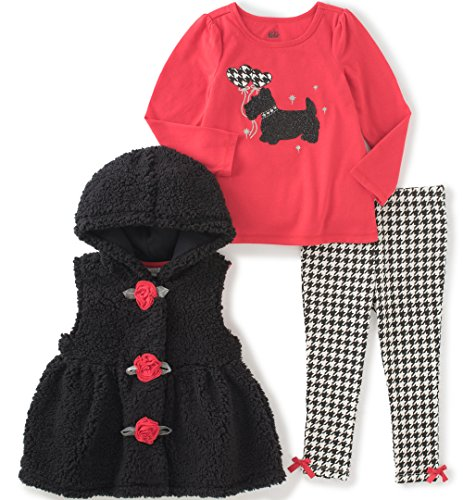 Kids Headquarters Baby Girls' 3 Pieces Sherpa Hooded Vest Pants Set