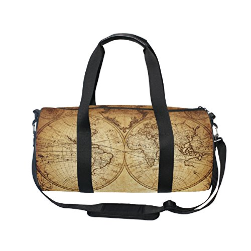 Cooper girl Vintage Retro World Map Duffels Bag Travel Sport Gym Bag