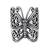 Sterling Silver Large Victorian Butterfly Ring - Size 7