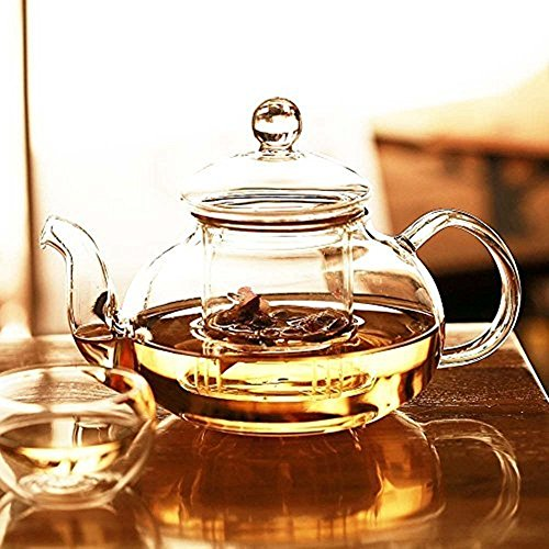 Zen Room 22oz Lead Free Heat Resistant Borosilicate Glass Tea Pot with Infuser, Warmer and 6 Double Walled Borosilicate Glass Tea Cups 2oz/ Dishwasher Safe