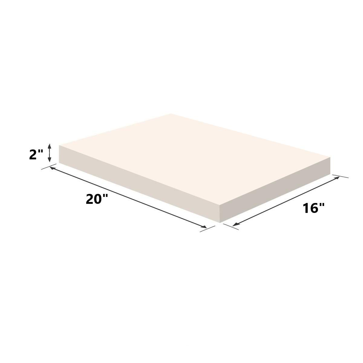 Upholstery Visco Memory Foam Sheet- 3.5 lb High Density 2''x20''x16''- Luxury Quality for Sofa, Chair Cushions, Pillows, Squishy Toy, Doctor Recommended for Backache & Bed Sores by Dream Solutions USA by Dream Solutions USA