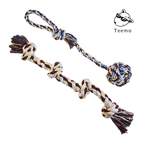 TEEMO Tug of War Dog Rope Toy, Sturdy Cotton and Thick Knots for Large Breeds or Big Puppies, Indoor and Outdoor Play and Dental Health (Toy Tug Rope)