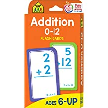 School Zone - Addition 0-12 Flash Cards - Ages 6 and Up, 1st Grade, 2nd Grade, Numbers 0-12, Math, Problem Solving, Addition Problems, Counting, and More