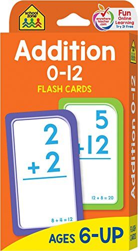 School Zone - Addition 0-12 Flash Cards - Ages 6 and Up, 1st Grade, 2nd Grade, Numbers 0-12, Math, Problem Solving, Addition Problems, Counting, and More (First Grade Addition Flash Cards)