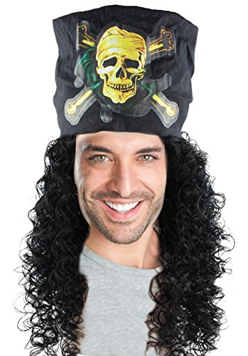 Mens Pirate Wig w/Scarf for Cosplay Costume Party Halloween