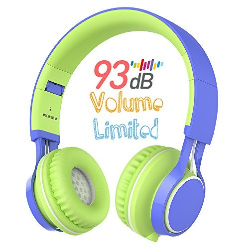 Kids Headphones, HD30 Volume Limiting Over Ear Kids Headset with Microphone for Boys Girls and iPad Tablets Computer Laptops Android Smartphone (Blue/Green) by AILIHEN