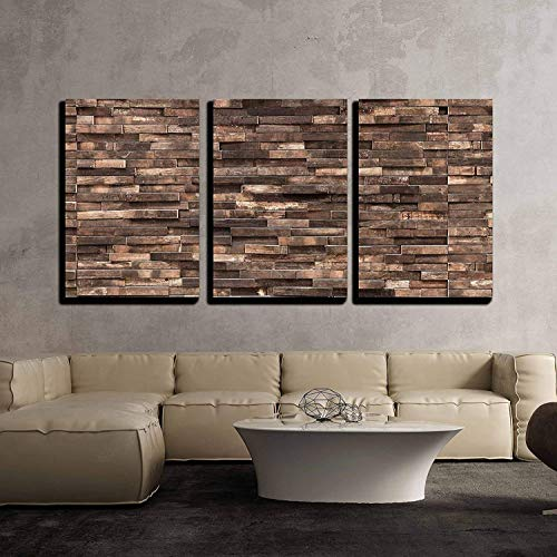 "wall26 - 3 Piece Canvas Wall Art - Decorative Wooden Wall Background Texture, Natural Wallpaper Pattern - Modern Home Decor Stretched and Framed Ready to Hang - 24""x36""x3 Panels"