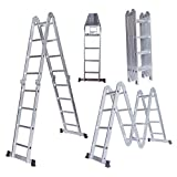 15.5ft Aluminum Multi Purpose Step Ladder Folding Telescoping extension Ladder Scaffold Ladders with 2 Platform Plates- Silver Color