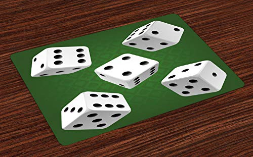 Ambesonne Modern Place Mats, Casino Gamble Rolling Dice Set Green Background Illustration, Washable Fabric Placemats for Dining Room Kitchen Table Decor, Fern Green White Charcoal Grey]()