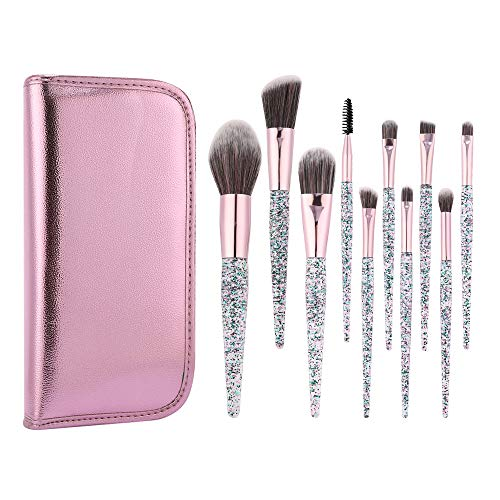 Professional 10 pcs Makeup Brush set, Green Beauty Mall Cosmetics Brush Collection, Pink