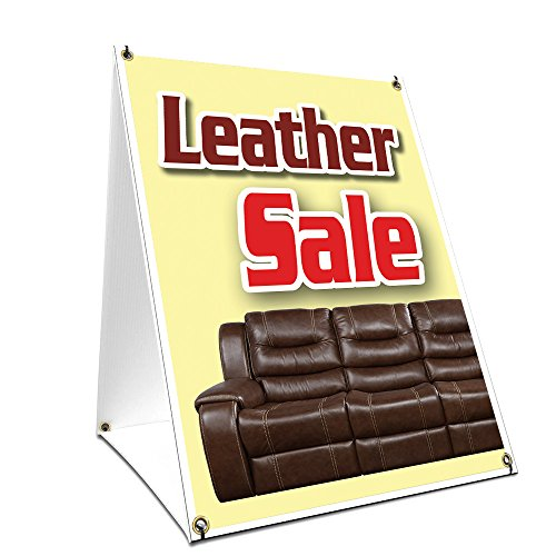 A-frame Sidewalk Leather Sale Sign With Graphics On Each Sid