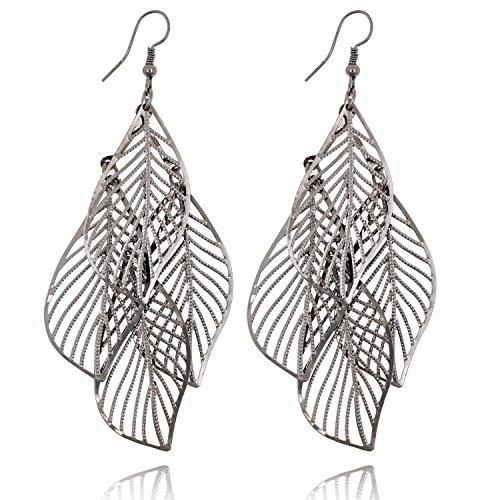 Statement Leaf Cluster Dangle Earrings for Women Girls-Gold Silver Gunmetal Colors (Gunmetal)