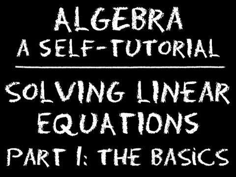 The Video Math Tutor: Algebra: Solving Linear Equations - Part 1: The Basics