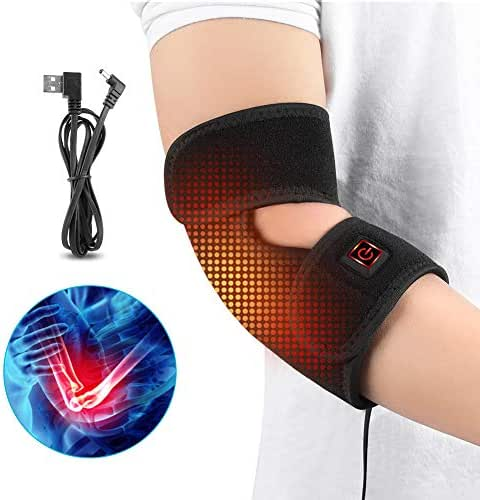 Haofy Electric Heated Elbow Belt for Man & Woman Elbow Brace Heat with 3 Level Temperature and USB Charge Cable Arm Support Heating Pad for Elbow Joint, Arthritis, Elbow Pain, Tendonitis, Chronic Pa