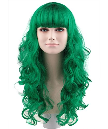 LONG CURLY GREEN CELEBRITY COSTUME WIG (Female Joker Style) HW-169 (Girl Joker Halloween Costume)