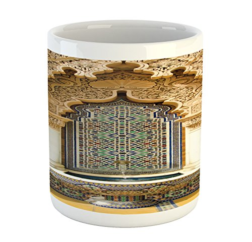 Ambesonne Moroccan Mug, Vintage Building Design Islamic Art Historic Exterior Facade Mosaic, Printed Ceramic Coffee Mug Water Tea Drinks Cup, Ivory Pale Brown Blue by Ambesonne