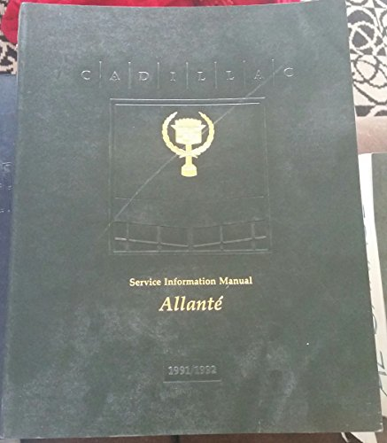 1991/1992 Cadillac Allante Service Information Manual