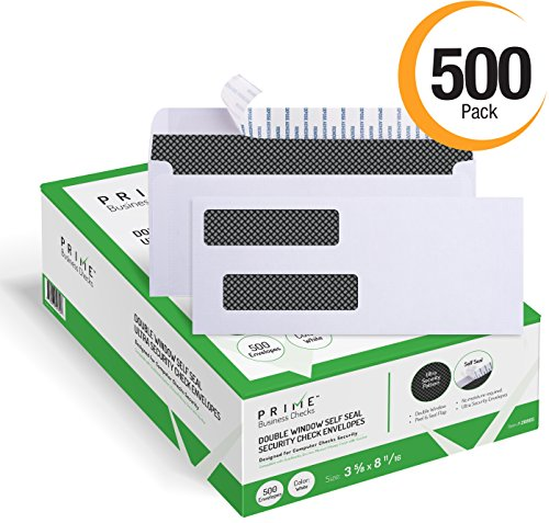 500 Self Seal Double Window Security Tinted Envelopes  Designed For Business Checks  Quickbooks  Laser Checks  Security Tinted  Self Adhesive Peel And Seal  White  Size 3 5 8  X 8 11 16   Checks Will Not Move   24 Lb  500 Per Box   Not For Invoices