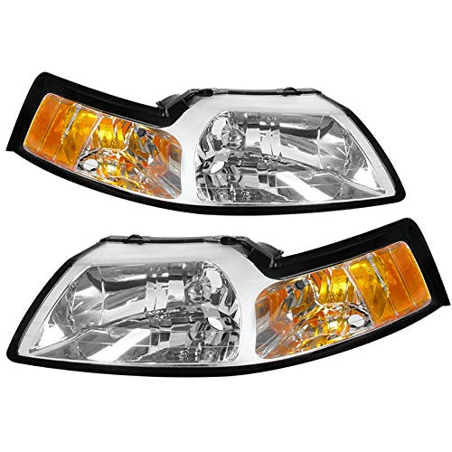Carpartsinnovate For 99-04 Ford Mustang GT Clear Driving Headlights+Corner Turn Signal Lamps (1999 Ford Mustang Gt Headlights)