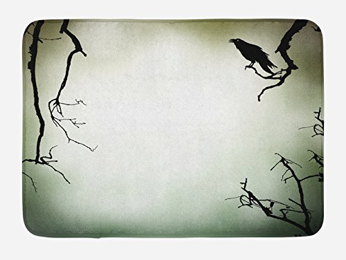 (Lunarable Horror House Bath Mat, Crow Bird on Leafless Branch Cemetery Death Spirit Animal Evil Raven Funeral, Plush Bathroom Decor Mat with Non Slip Backing, 29.5 W X 17.5 L Inches, Sepia Black)