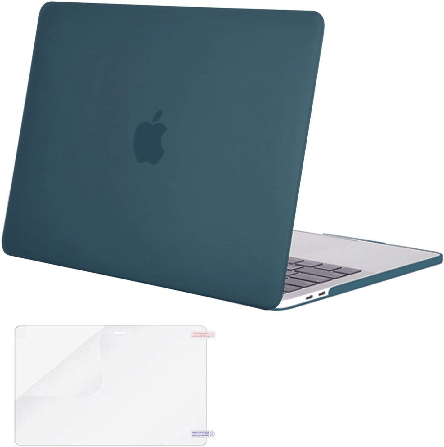 MOSISO MacBook Pro 13 inch Case 2019 2018 2017 2016 Release A2159 A1989 A1706 A1708, Plastic Hard Shell Case&Screen Protector Compatible with MacBook Pro 13 inch with/Without Touch Bar, Deep Teal
