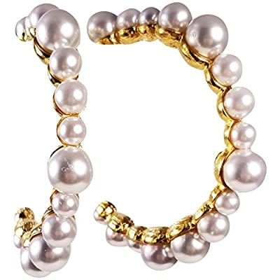 "Discount KENNETH JAY LANE, MULTI PEARL GOLD HOOP EARRING, 2.5"" INCHES for sale"