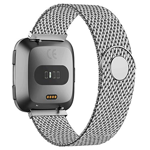 POY 2 Pack Bands Compatible for Fitbit Versa 2/Fitbit Versa/Fitbit Versa Lite for Women Men, Metal Stainless Steel Mesh Loop Replacement Strap for Versa