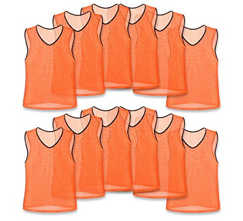 Over Vest Training Bib (Nylon Mesh Scrimmage Team Practice Vests Pinnies Jerseys Bibs for Children Youth Sports Basketball, Soccer, Football, Volleyball (Orange, Adult))