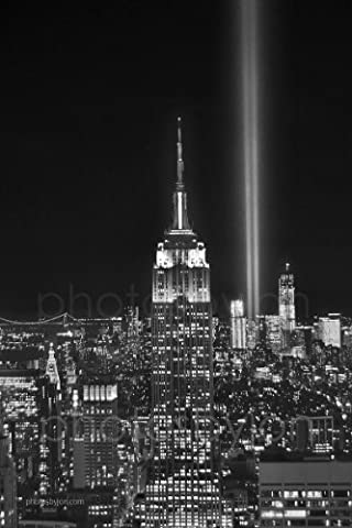 New York City NYC Skyline Tribute in Lights at NIGHT Empire State Building Manhattan Black & White BW 12 inches x 18 inches Photographic Panorama Poster Print Photo Picture Standard Frame - Empire State Building Photographs