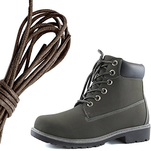 DailyShoes Womens Lace-Up Ankle Padded Collar Work Combat Hard Toe Booties, Dark Brown Gray Black Pu