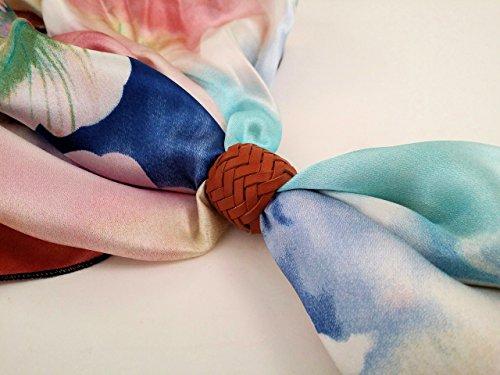 Custom Braided Kangaroo Leather Scarf or Wild Rag Slide Color Saddle Tan