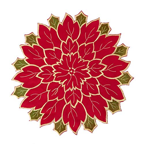 (Simhomsen Festive Poinsettia Doilies for Christmas Holiday Table Centerpieces Decorations, Medium Size, Round 16 inch Set of 6)