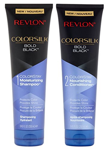 (Revlon Colorsilk Colorstay Moisturizing Shampoo & Conditioner Set, Bold Black, 8.45 Oz Each)