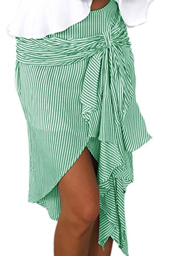 La Mujer De Rayas Irregulares De Faldas De Verano Arcos Playa Green