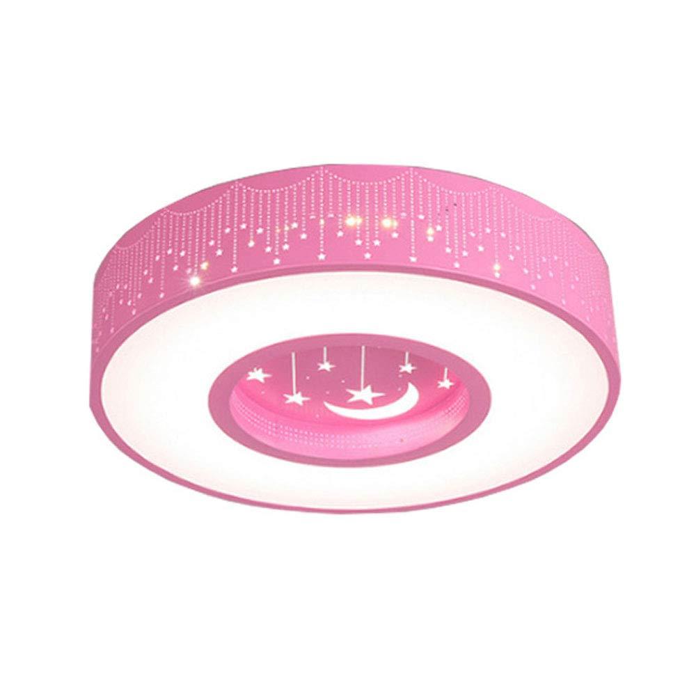 LED Deckenlampe 24W Moderne Kinderzimmerlampe LED-Deckenleuchte für Jungen und Mädchen Begrüßungsräume Licht Kreativ Mond mit Stern Zimmer weiße Zeitgenössisch Decken Beleuchtung, Ø40CM 6000K, Rosa