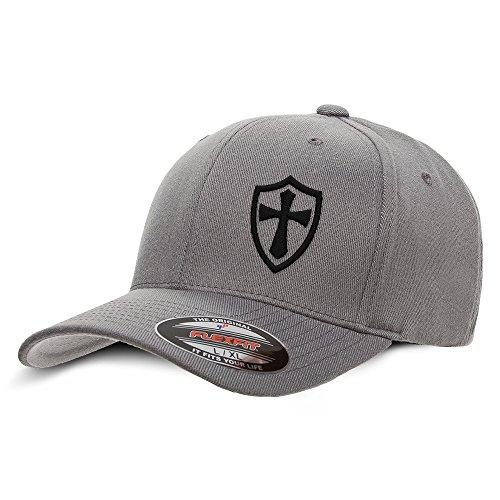 Black Cap Cross - Crusader Knights Templar Cross Baseball Hat Large/X-Large Black on Grey