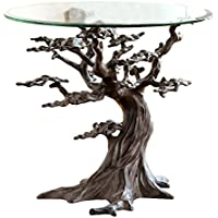 Cypress Tree Metal and Glass End Table