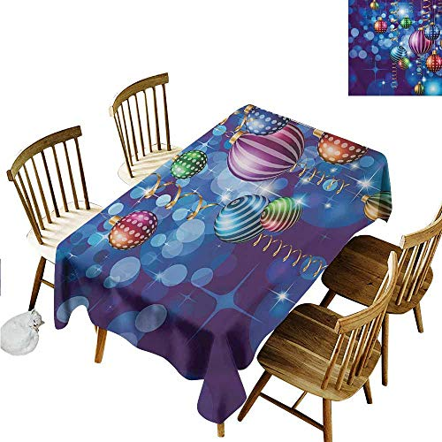 Xlcsomf Anti-fouling Long Tablecloth Christmas Suitable for Camping Happy New Year Party Celebrations with Swirling Ornaments and Balls Festive Print Blue Gold,W60 xL102