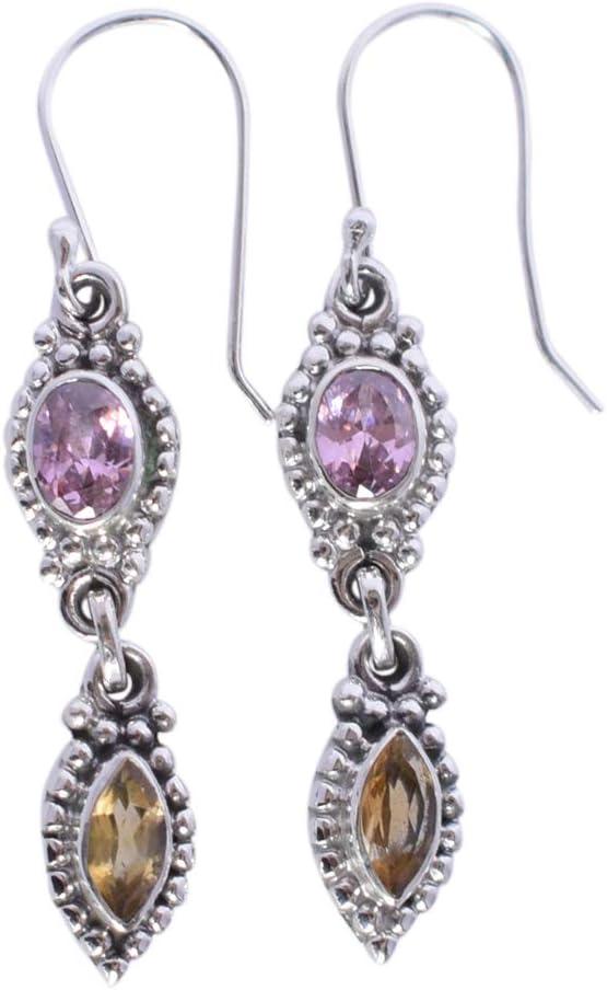 Pendientes de cuarzo rosa y piedra de citrino maciza de plata de ley 925 hechos a mano FSJ-2878