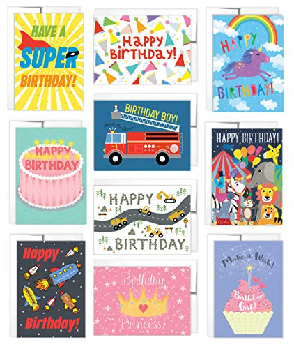 Tiny Expressions 10 Kids Birthday Cards with Inside Messages and Envelopes